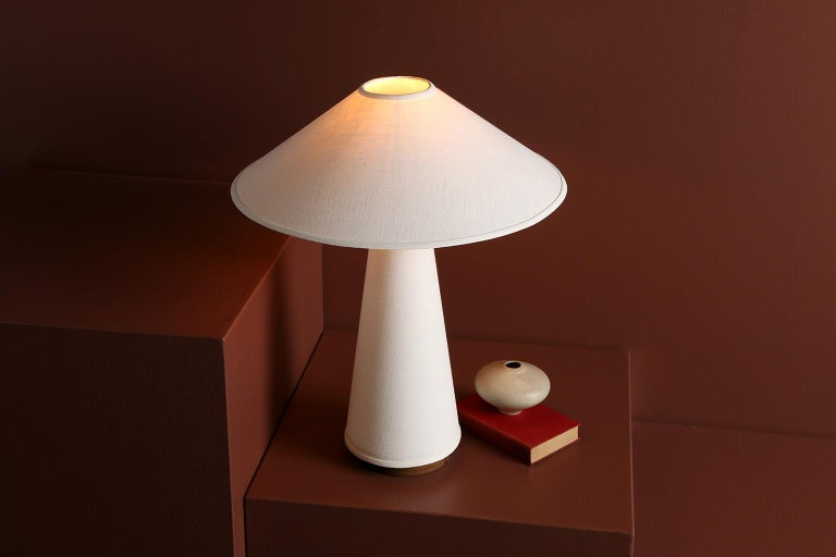 Hand-Crafted Linden Table Lamp with Contemporary Linen Shades by Studio Dunn For Sale
