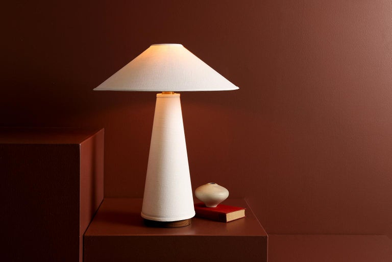 Linden Table Lamp with Contemporary Linen Shades by Studio Dunn In New Condition For Sale In Rumford, RI