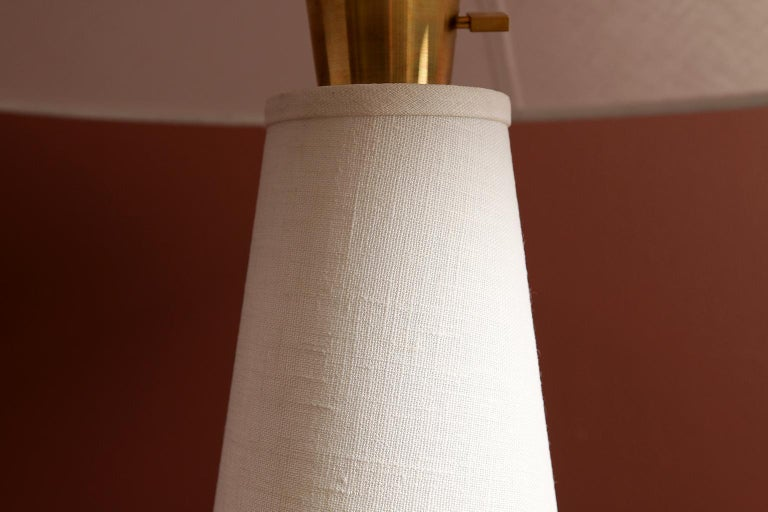 Linden Table Lamp with Contemporary Linen Shades by Studio Dunn For Sale 1