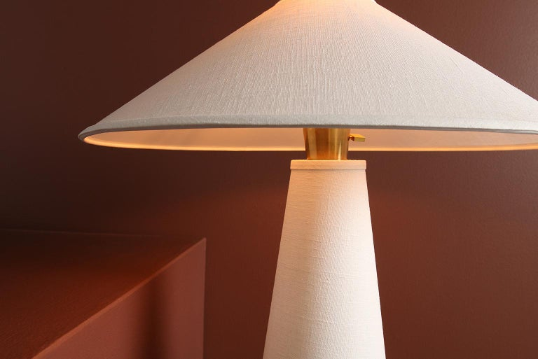 Linden Table Lamp with Contemporary Linen Shades by Studio DUNN For Sale 2