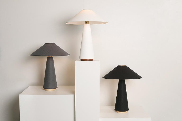 Linden Table Lamp with Contemporary Linen Shades by Studio Dunn For Sale 3