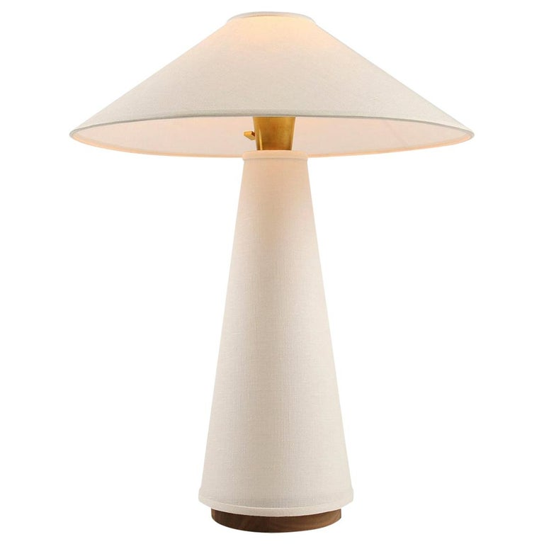 Linden Table Lamp with Contemporary Linen Shades by Studio DUNN For Sale