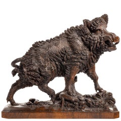 Linden Wood 'Black Forest' Model of a Wild Boar