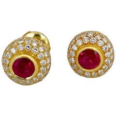 Linderman 18 Karat Gold 1.48 Carat Ruby and 1.37 Carat Diamonds Stud Earrings
