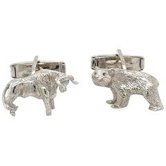Lindsay & Co. 18 KT White Gold Bull & Bear Cuff Links