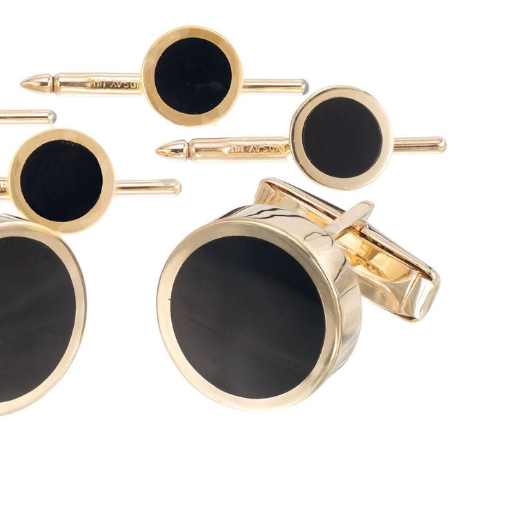 Lindsay Onyx Yellow Gold Cufflinks Shirt Stud Set In Excellent Condition For Sale In Stamford, CT
