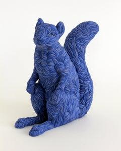 """Blue Squirrel"", Contemporary, Ceramic, Figurative, Sculpture, Colored Porcelain"