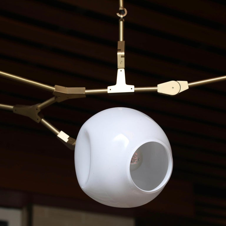 Lindsey Adelman 5 Globe Branching Bubble Chandelier In Good Condition In New London, CT