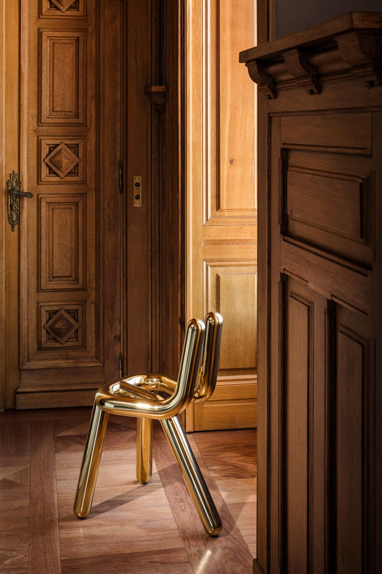 Riluc, Line Chair, Hand Polished Stainless Steel designed in 2010 by Toni Grilo In New Condition For Sale In Porto, PT