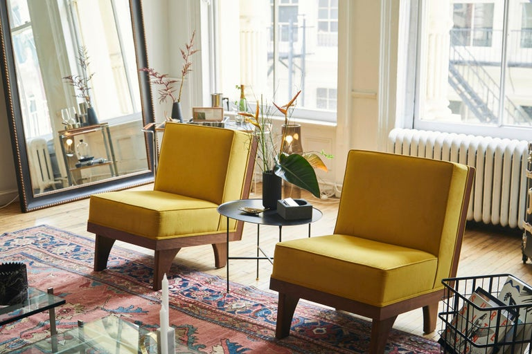 Line Lounge Chair in Walnut and Yellow Velvet Upholstery by Luteca In New Condition For Sale In New York, NY
