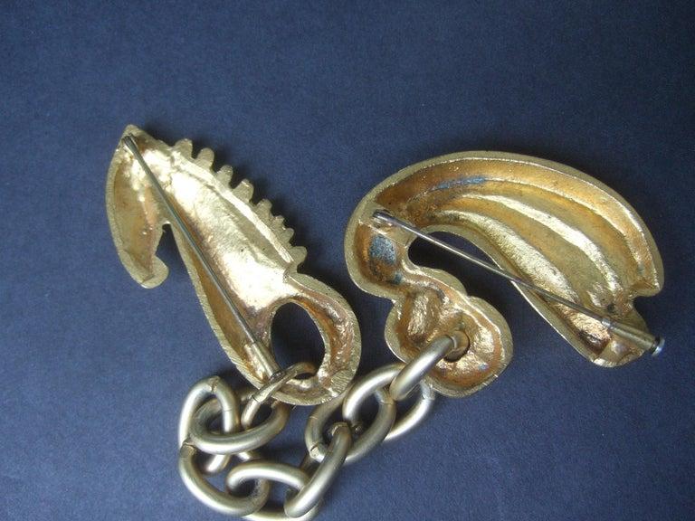 Line Vautrin 1940s Art Deco Articulated Gilt Bronze Seahorse Brooch For Sale 12