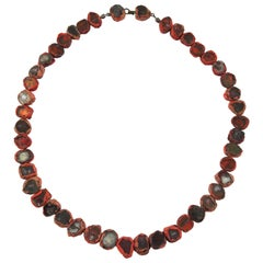 Line Vautrin 1960s Red Talosel Resin Mirror Necklace