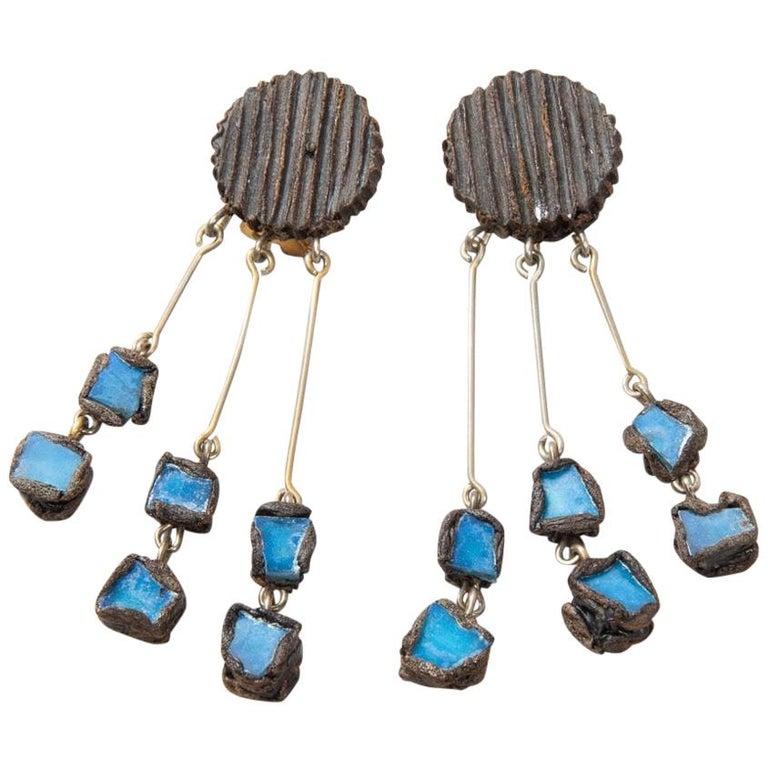 "Line Vautrin - Fr - A ""Farah"" Talosel and Incrusted Blue Mirrors Earrings, 2 For Sale"
