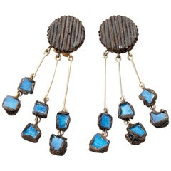 "Line Vautrin, Fr - A ""Farah"" Talosel and Incrusted Blue Mirrors Earrings, 2"