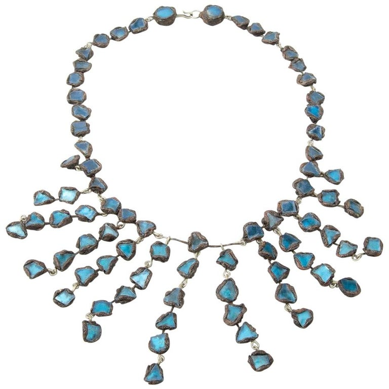 """Line Vautrin - Fr - A """"Farah"""" Talosel and Incrusted Blue Mirrors Large Necklace For Sale"""