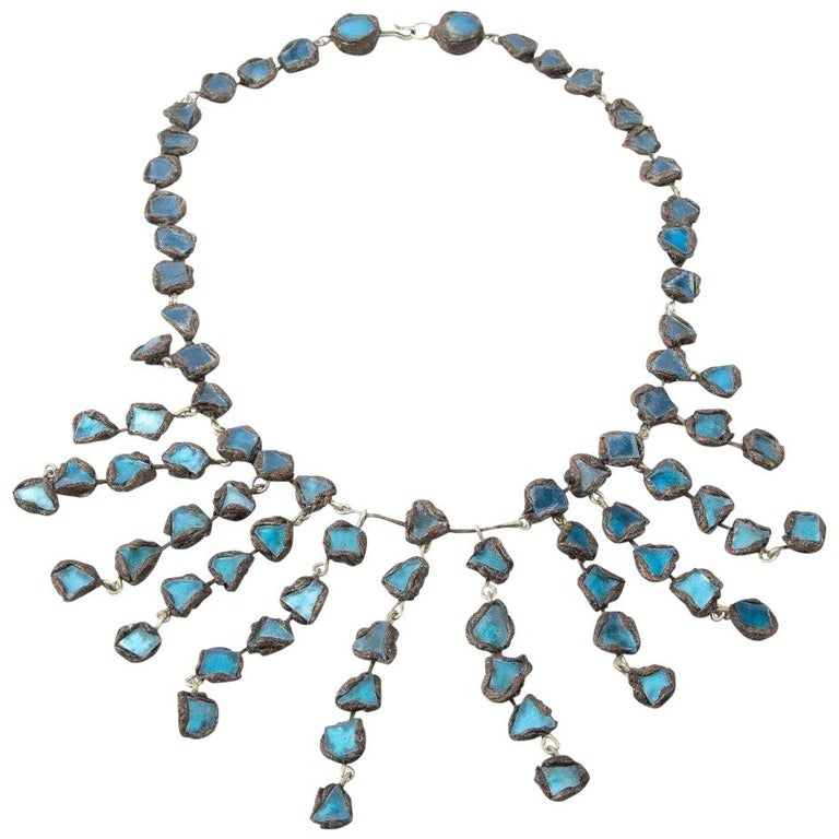 "Line Vautrin, Fr, A ""Farah"" Talosel and Incrusted Blue Mirrors Large Necklace For Sale"