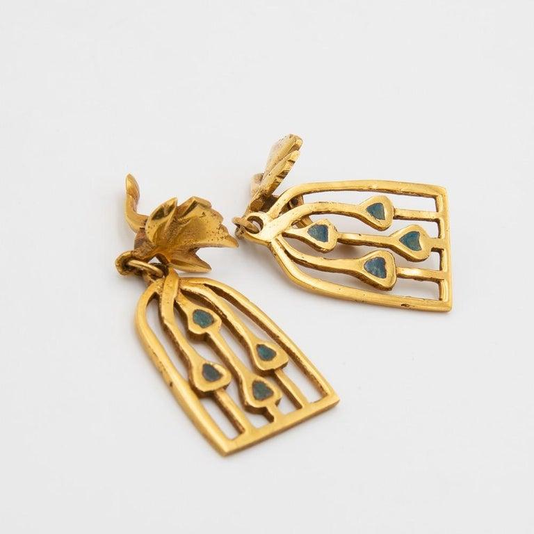 Mid-Century Modern Line Vautrin, Fr, a Pair of Gilded Bronze Earrings
