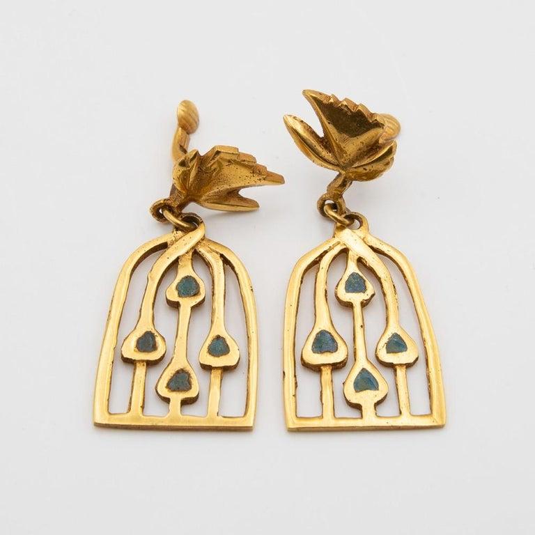 Gilt Line Vautrin, Fr, a Pair of Gilded Bronze Earrings