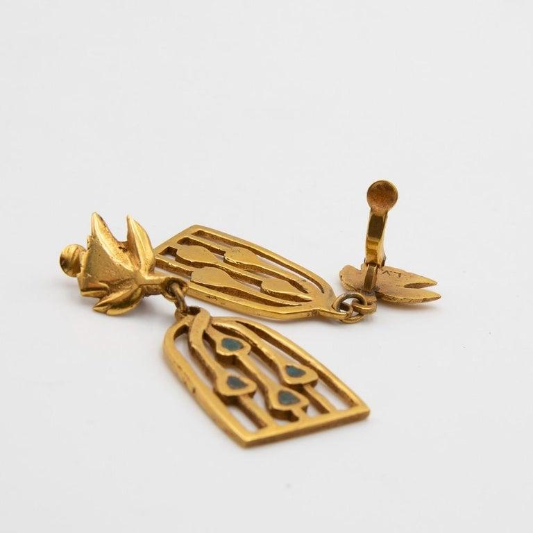 Line Vautrin, Fr, a Pair of Gilded Bronze Earrings