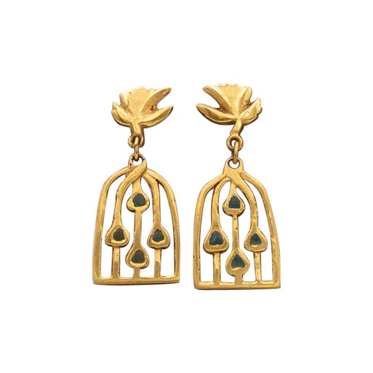 """Line Vautrin, Fr, a Pair of Gilded Bronze Earrings """" Les Oiseaux Envolés"""""""