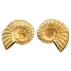 "Line Vautrin, Fr, a Pair of ""Nautile"" Gilded Bronze Earrings"
