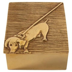 Line Vautrin, France, Dachshund Tout Ou Rien 'All or Nothing' Box, Gilded Bronze