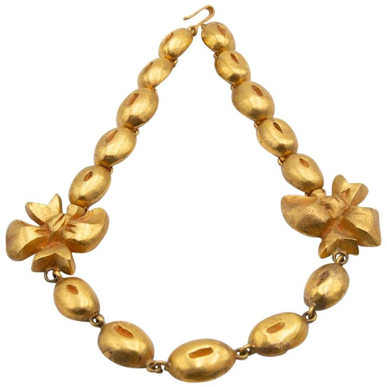 """Line Vautrin, France, """"Flowers and Coffee Beans"""" Necklace Gilded Bronze For Sale"""