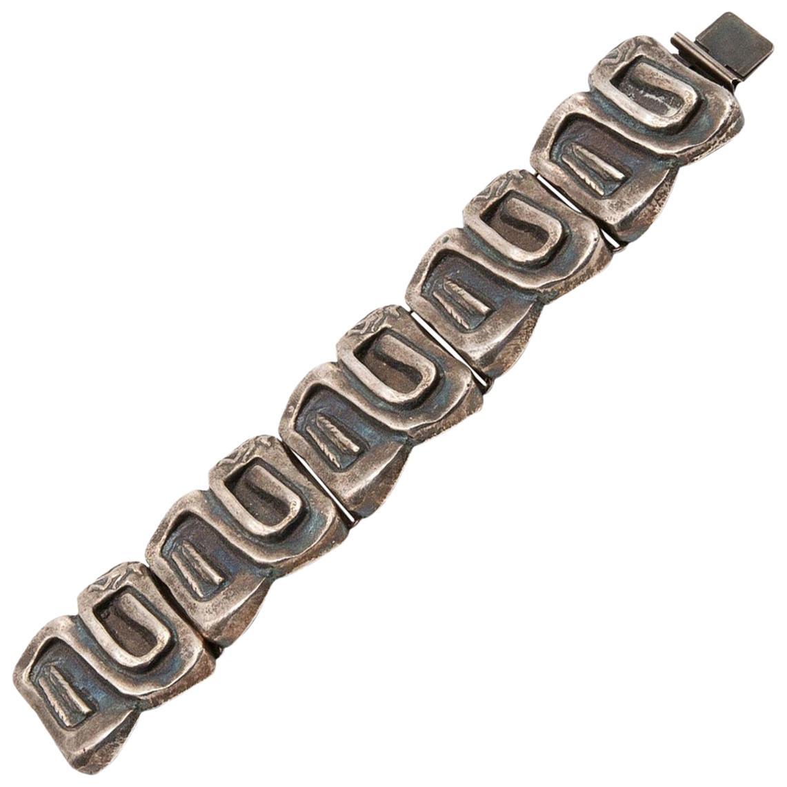 """Line Vautrin, France, """"Icare"""" Silvered Bronze Band Bracelet"""