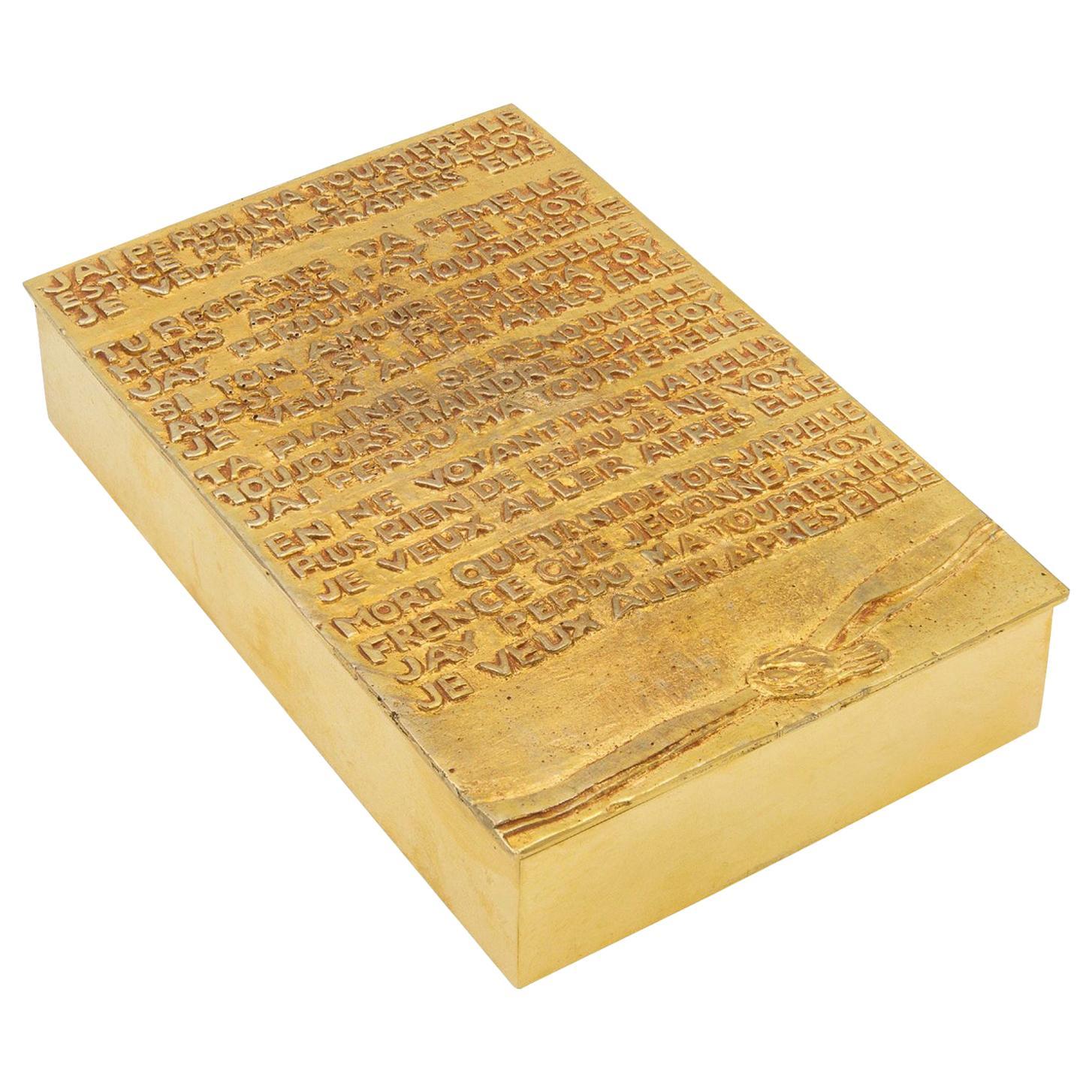 "Line Vautrin, France, ""j'ai perdu ma tourterelle"" Gilded Bronze Rebus Large Box"