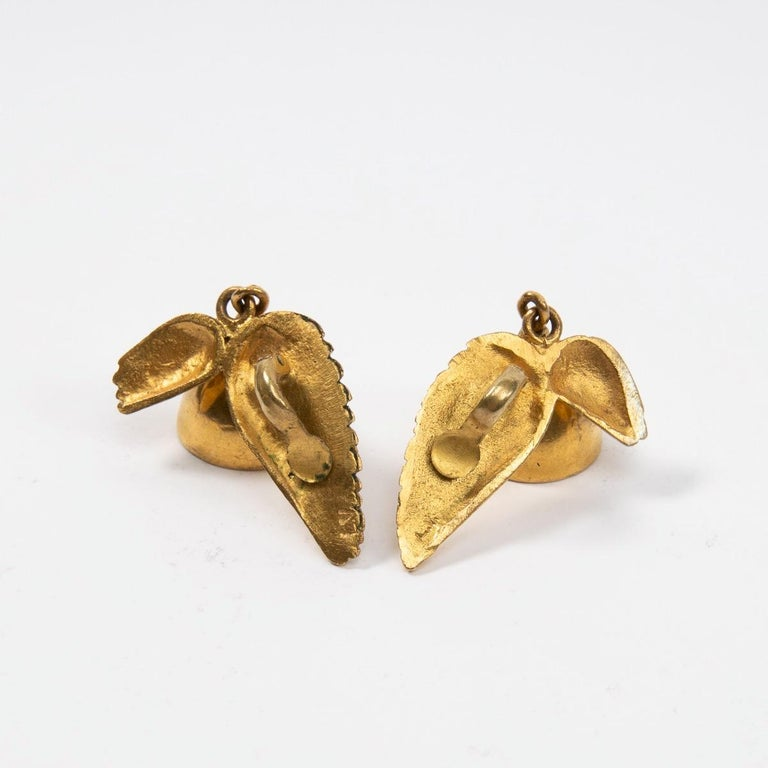 Magnificent pair of clips earrings designed and manufactured by Line Vautrin, circa 1955-1960. Very good condition and has not been cleaned prior our image shooting. We can let it professionally cleaned before sending it to you if you wish. A COA