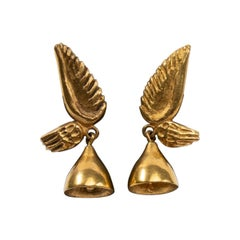 "Line Vautrin, France, ""Les Cloches Ailées"" ""Winged Bells"" Bronze Earrings"