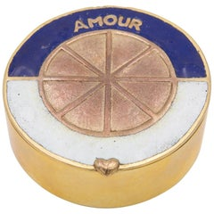 "Line Vautrin, France, ""Love King of Your Heart"", Enameled Gilded Bronze Box"