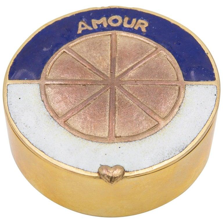 "Line Vautrin, France, ""Love King of Your Heart"", Enameled Gilded Bronze Box  For Sale"