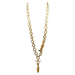 "Line Vautrin, France, Rare Long Necklace ""the Trapezists"", Gilded Bronze"