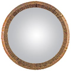"Line Vautrin French Convex Mirror ""Couronne"" Gold Bronze Incrusted Mirrors"