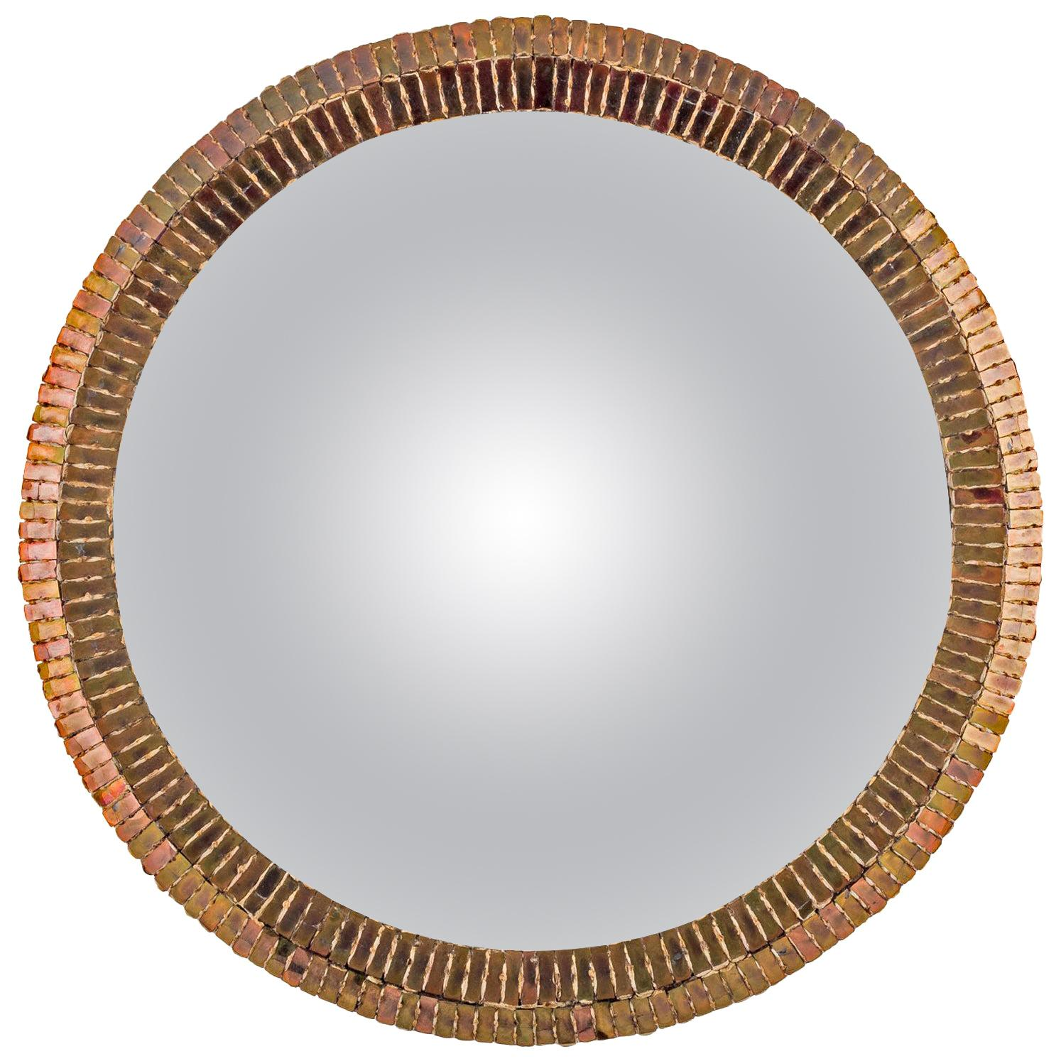 """Line Vautrin French Convex Mirror """"Couronne"""" Gold Bronze Incrusted Mirrors"""