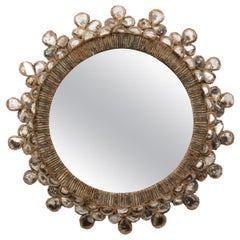 """Line Vautrin French Convex Mirror """"Shamrock"""" Silver Foil Incrusted Mirrors"""