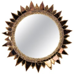 "Line Vautrin, French, Mirror ""Soleil A Pointes"" Dark Bronze Incrusted Mirrors"