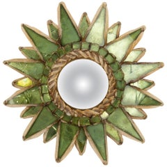 "Line Vautrin, French, Mirror ""Soleil A Pointes"" Green Incrusted Mirrors"