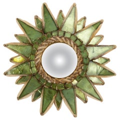 """Line Vautrin, French, Mirror """"Soleil A Pointes"""" Green Incrusted Mirrors"""