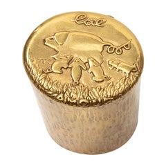 """Line Vautrin Gilded Bronze Box """"L'Altruisme est Amour"""""""