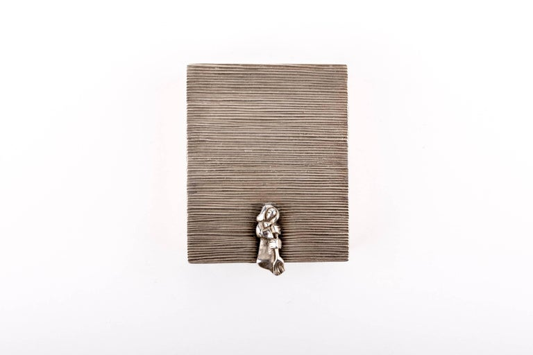 Mid-Century Modern Line Vautrin 'La Balayeuse Du Sacré Coeur' Silvered Bronze Box For Sale
