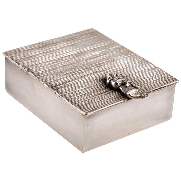 Line Vautrin 'La Balayeuse Du Sacré Coeur' Silvered Bronze Box For Sale
