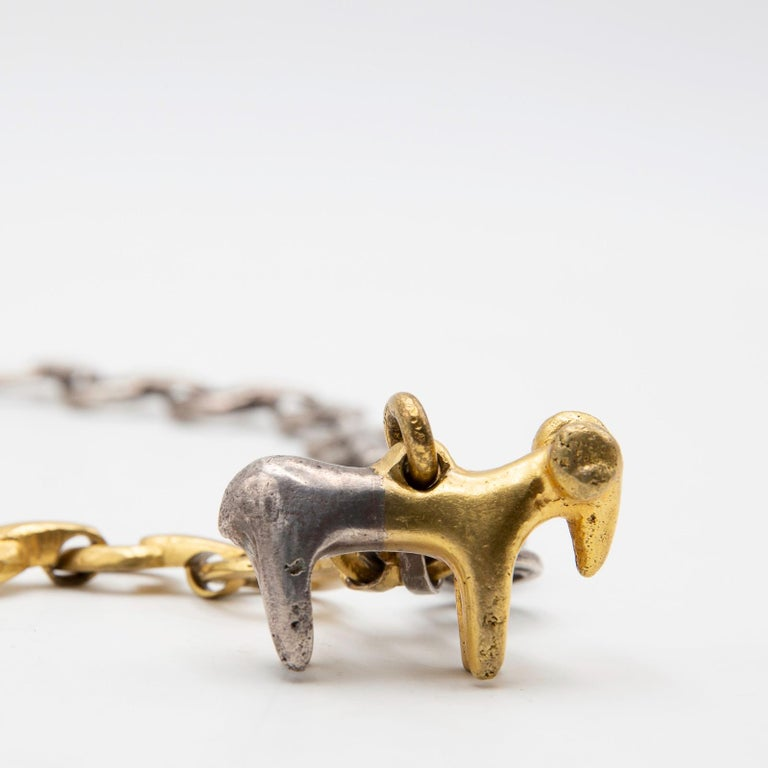Mid-Century Modern Line Vautrin, Le Bélier 'the Ram', Iconic Gilded and Silvered Bronze Necklace For Sale