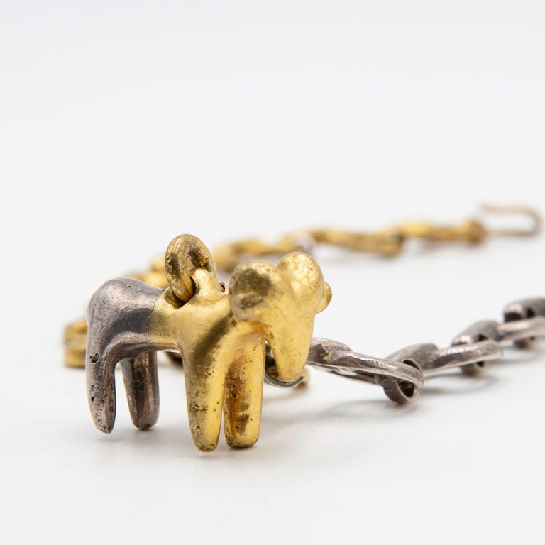 French Line Vautrin, Le Bélier 'the Ram', Iconic Gilded and Silvered Bronze Necklace For Sale
