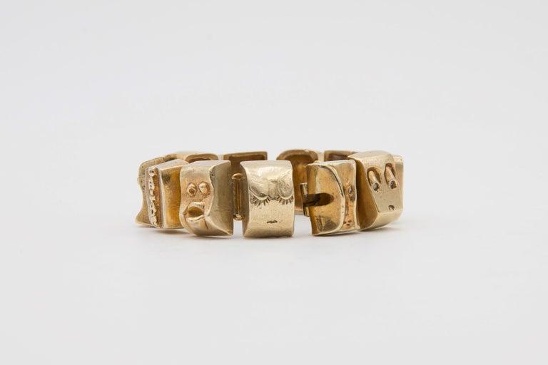 Mid-Century Modern Line Vautrin Les Sept Péchés Capitaux Gilded Bronze Armband, Bracelet For Sale