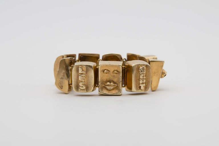 French Line Vautrin Les Sept Péchés Capitaux Gilded Bronze Armband, Bracelet For Sale