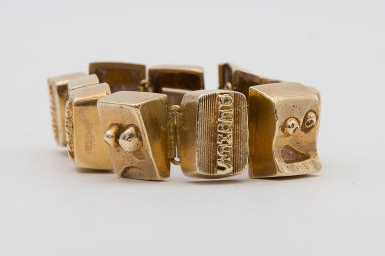 Gilt Line Vautrin Les Sept Péchés Capitaux Gilded Bronze Armband, Bracelet For Sale