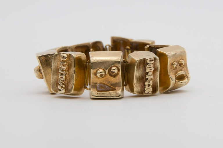 Line Vautrin Les Sept Péchés Capitaux Gilded Bronze Armband, Bracelet In Excellent Condition For Sale In Brussels, BE