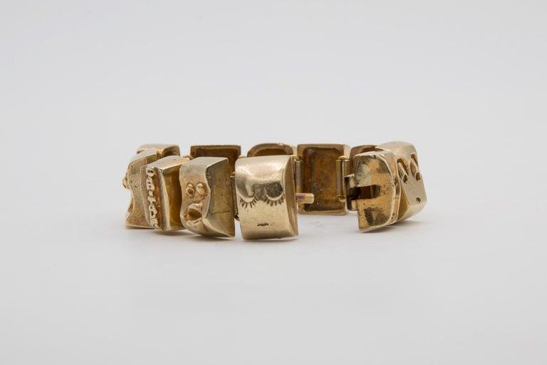 Mid-20th Century Line Vautrin Les Sept Péchés Capitaux Gilded Bronze Armband, Bracelet For Sale